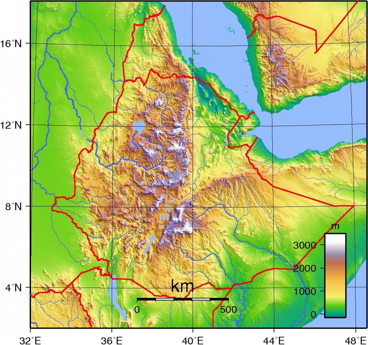 Fysisk Kort Af Etiopien Etiopien Topografisk Kort Ostlige